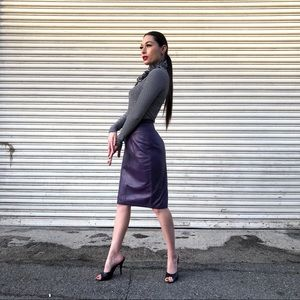 Dresses & Skirts - 1980s Plum Leather Skirt